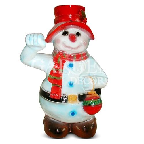 Садовая фигура Снеговик с фонариком