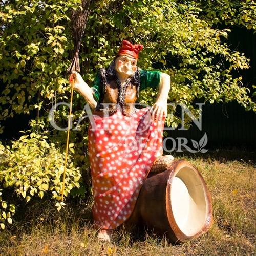 Большая садовая фигура Баба-Яга на ступе - фото 39836
