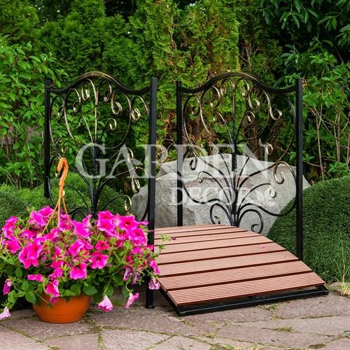 Садовый мост из металла и террасной доски 862-25R - фото 42077