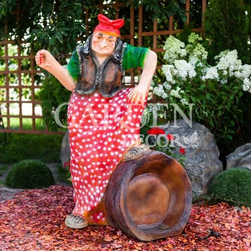 Большая садовая фигура Баба-Яга на ступе - фото 42079