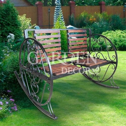 Кресло качалка кованое с деревом садовое 880-14R - фото 42101