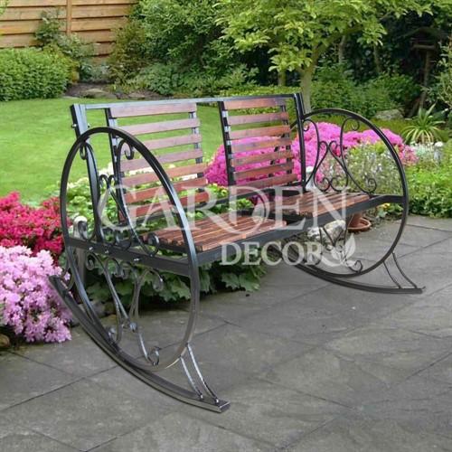 Садовое Кресло качалка с металлом и деревом 880-12R - фото 42102