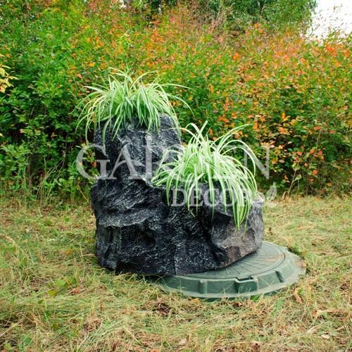 Крышка люка камень с тремя кашпо полистоун F07091 - фото 42976