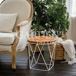 Стол журнальный Лофт металл белый со светлым деревом 66-119