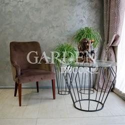 Стол кованый со стеклом лофт 66-122