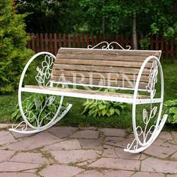 Кресло качалка садовое кованое белое с деревом 881-43R