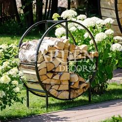 Дровница металл для дачи и дома Лофт Круг 66-912