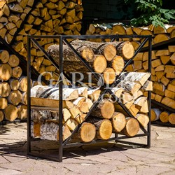 Дровница металл для дачи и дома Лофт Прямоугольник 66-913
