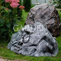 Крышка люка садовая Камень лицо полистоун F07447